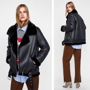 Zara Faux Shearling Biker Aviator Coat